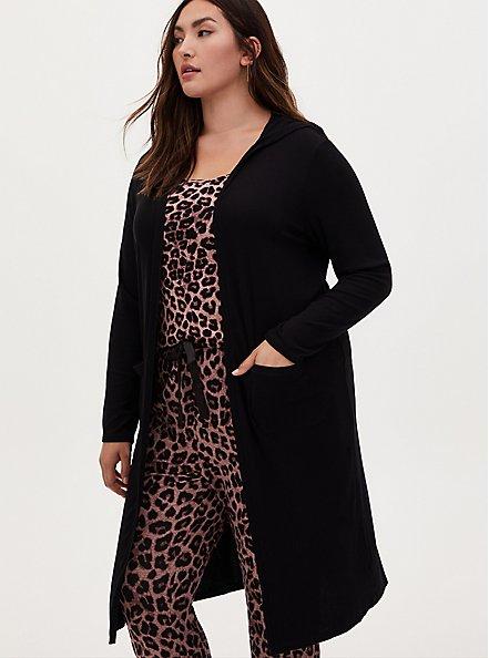 Black Ribbed Hooded Sleep Robe, DEEP BLACK, hi-res