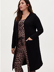 Black Ribbed Hooded Lounge Robe, DEEP BLACK, hi-res