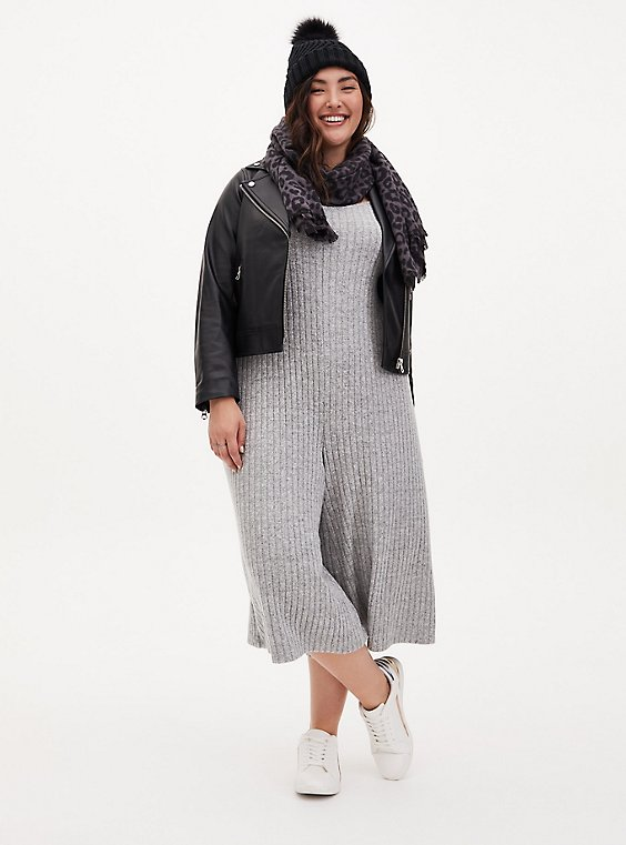 Super Soft Rib Heather Grey Lounge Culotte Jumpsuit, GREY, hi-res