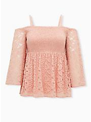 Peach Lace Bell Cold Shoulder Smocked Babydoll Top, PEACH BEIGE, hi-res