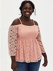 Peach Lace Smocked Cold Shoulder Blouse, PEACH BEIGE, hi-res