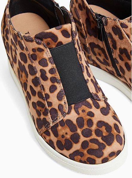 Leopard Faux Suede High-Top Wedge Sneaker (WW), ANIMAL, alternate