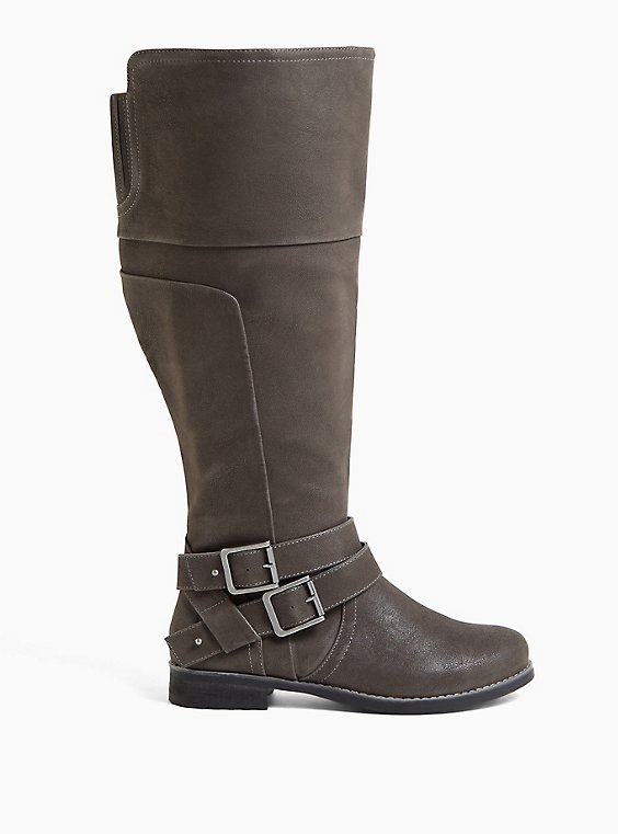 Grey Oiled Faux Suede Double Buckle Knee-High Boot (WW & Wide to Extra Wide Calf), , hi-res