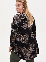 Super Soft Black Floral Lattice Long Sleeve Babydoll Tee, DEEP BLACK, alternate