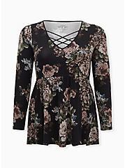 Super Soft Black Floral Lattice Long Sleeve Babydoll Tee, DEEP BLACK, hi-res