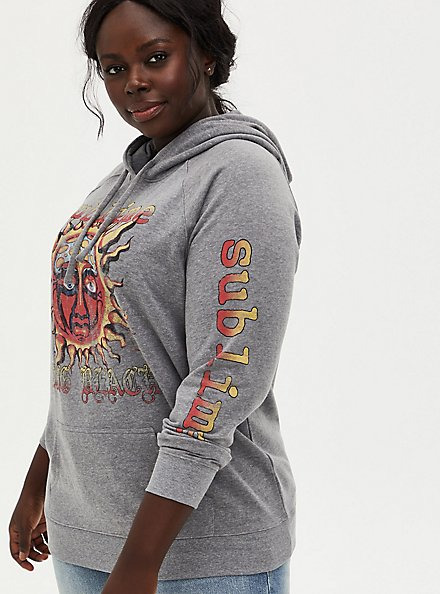 Sublime Long Beach Heather Grey Fleece Hoodie, MEDIUM HEATHER GREY, alternate