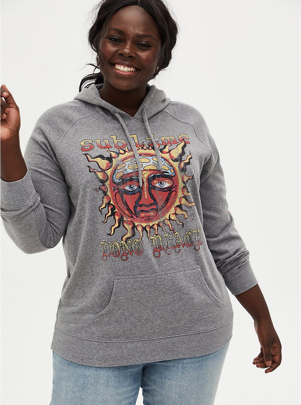 Sublime Long Beach Heather Grey Fleece Hoodie, MEDIUM HEATHER GREY, hi-res