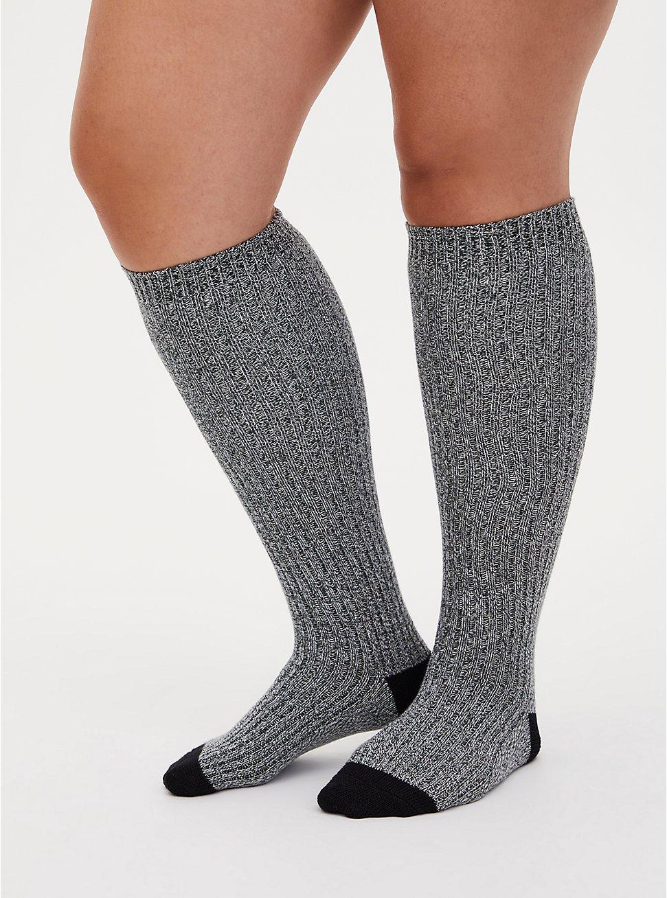 Olive Green Marled Cotton Knee-High Socks, MULTI, hi-res