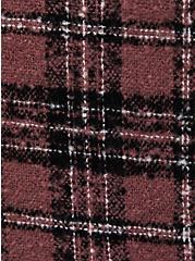 Brown Plaid Funnel Neck Cape , , alternate