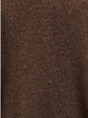 Brown Shawl Collar Fringe Ruana, , alternate