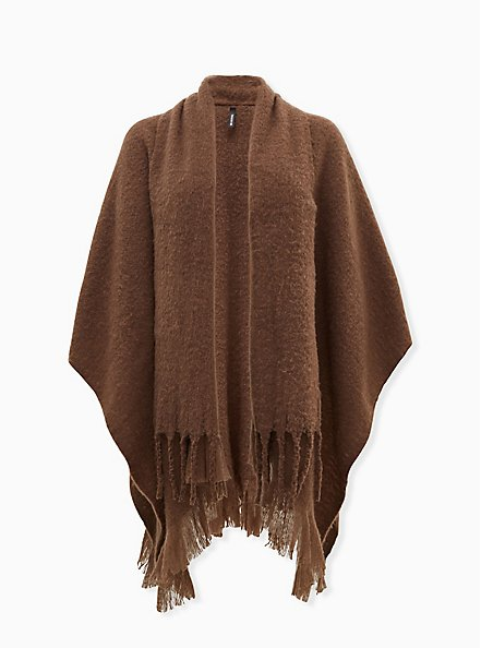Brown Shawl Collar Fringe Ruana, , hi-res