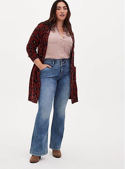 Red Leopard Brushed Sweater Coat, LEOPARD, alternate