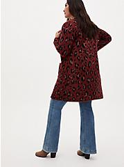 Red Leopard Brushed Sweater Coat, LEOPARD, alternate