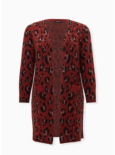 Red Leopard Brushed Sweater Coat, LEOPARD, hi-res