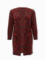 Red Leopard Brushed Sweater Coat, LEOPARD, hi-res