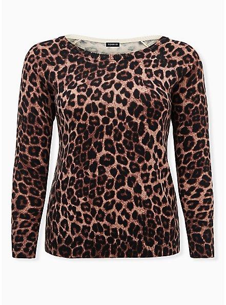 Leopard Scoop Neck Raglan Sweater, LEOPARD, hi-res