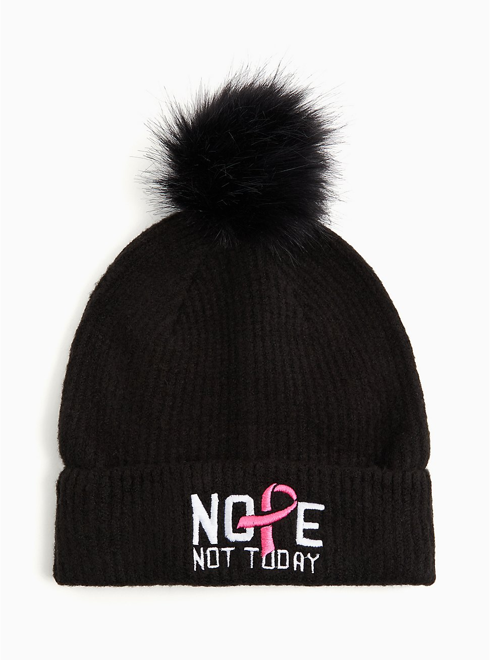 Breast Cancer Awareness - Nope Not Today Black Pom Pom Beanie, , hi-res