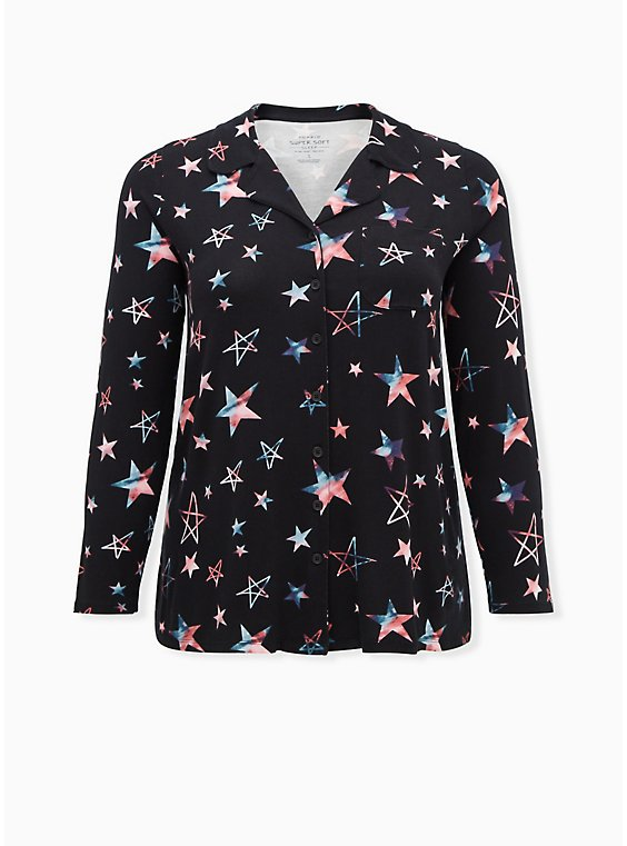 Super Soft Black & Multi Star Button Front Sleep Shirt, , flat