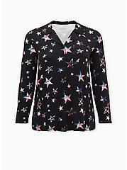 Super Soft Black & Multi Star Button Front Sleep Shirt, MULTI, hi-res
