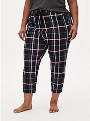 Black Plaid Crop Sleep Pant, MULTI, alternate