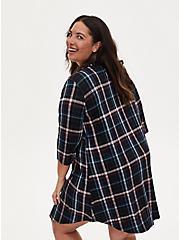 Super Soft Multi Plaid Sleep Tunic Shirt, DEEP BLACK, alternate