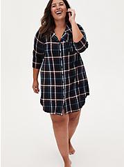 Super Soft Multi Plaid Sleep Tunic Shirt, DEEP BLACK, hi-res