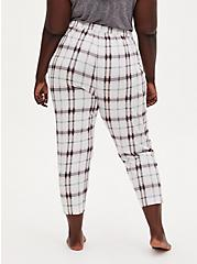 White & Pink Plaid Crop Sleep Pant, MULTI, alternate