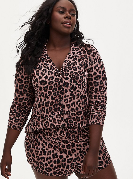 Super Soft Leopard Button Front Sleep Shirt, MULTI, hi-res
