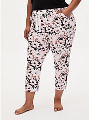 White Floral Crop Sleep Pant, MULTI, alternate
