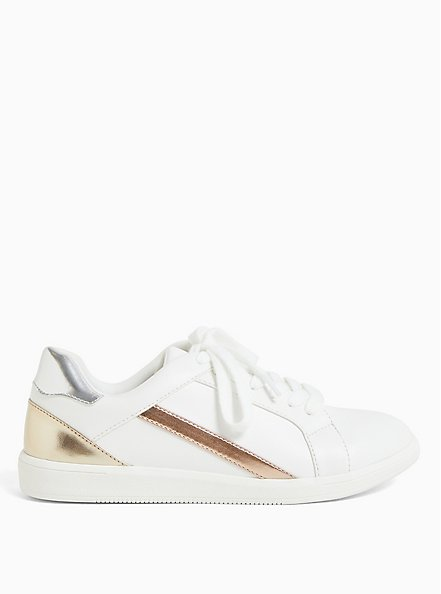 White Metallic Lace-Up Sneaker (WW), WHITE, alternate