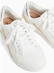 White Metallic Lace-Up Sneaker (WW), WHITE, alternate