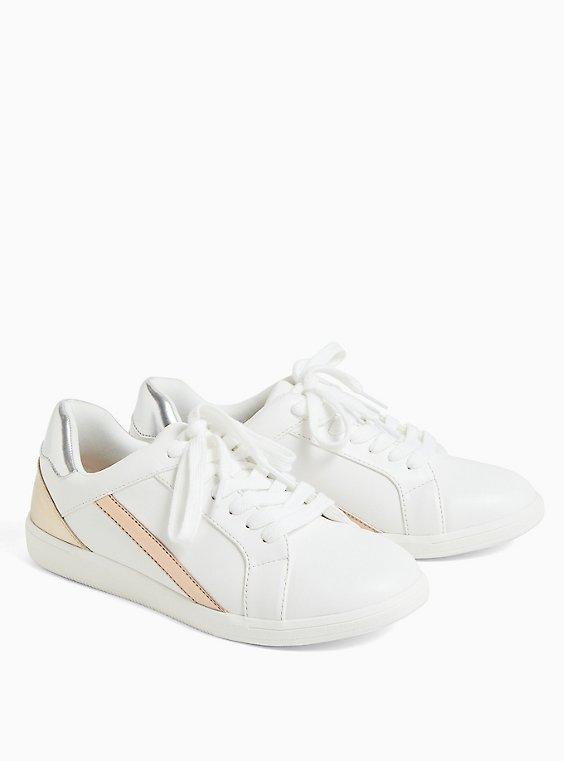 White Metallic Lace-Up Sneaker (WW), WHITE, hi-res