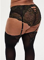 Black Mesh & Lace Garter Belt, RICH BLACK, alternate