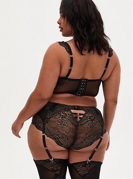 Plus Size Black Mesh & Lace Garter Belt, RICH BLACK, alternate
