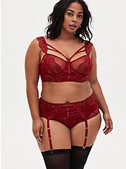 Red Mesh & Lace Garter Belt, BIKING RED, alternate