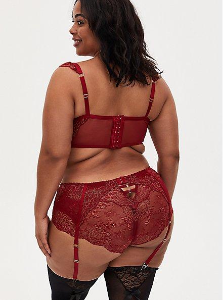 Plus Size Red Mesh & Lace Garter Belt, BIKING RED, alternate
