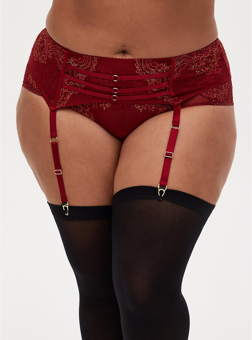Plus Size Red Mesh & Lace Garter Belt, BIKING RED, hi-res