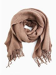 Taupe Textured Fringe Scarf, , alternate