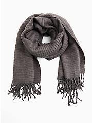 Charcoal Grey Textured Fringe Scarf, , alternate