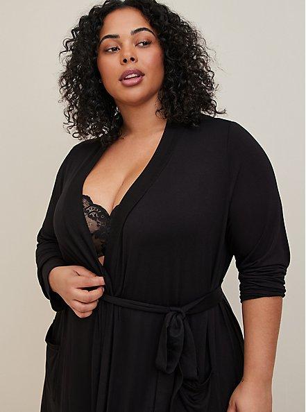 Super Soft Black Sleep Robe, DEEP BLACK, alternate
