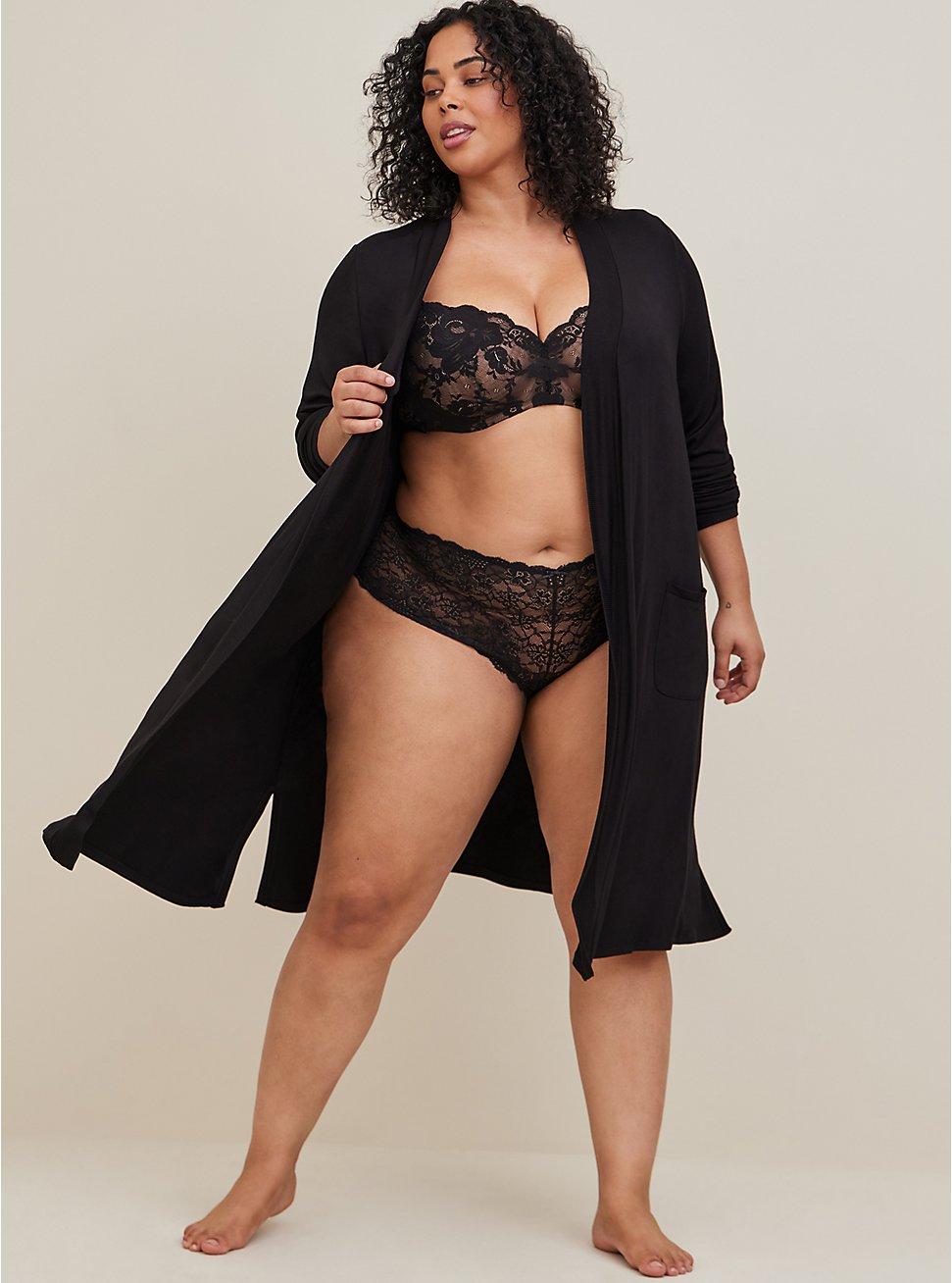 Super Soft Black Sleep Robe, DEEP BLACK, hi-res