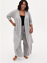 Super Soft Plush Light Grey Self-Tie Sleep Robe, GREY, alternate