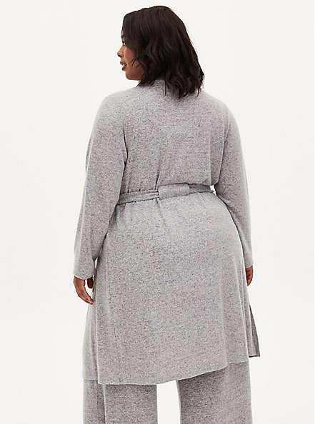 Super Soft Plush Light Grey Self-Tie Sleep Robe, GREY, alternate