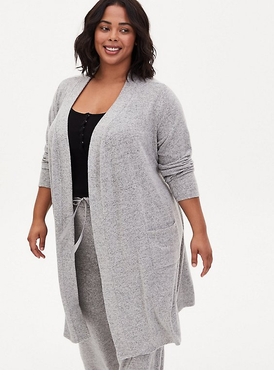 Super Soft Plush Light Grey Self-Tie Sleep Robe, GREY, hi-res