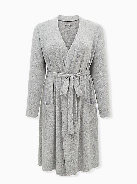 Super Soft Plush Light Grey Self-Tie Sleep Robe, GREY, hi-res