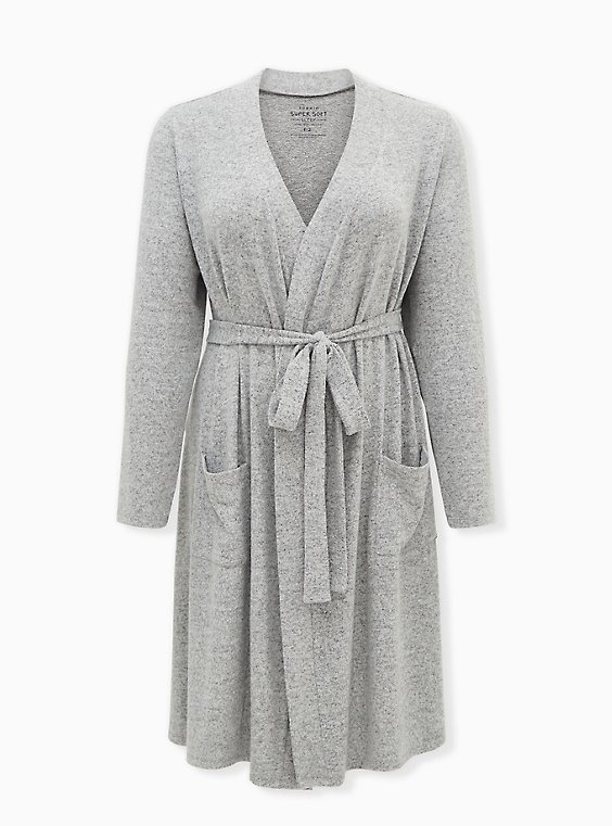 Super Soft Plush Light Grey Self-Tie Sleep Robe, GREY, ls