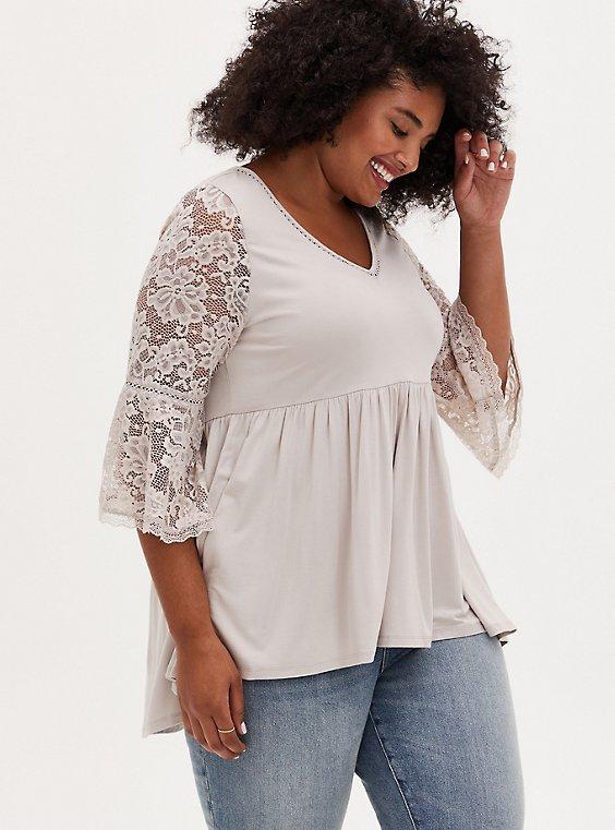 Super Soft Ivory Crochet Lace Babydoll Top, , hi-res