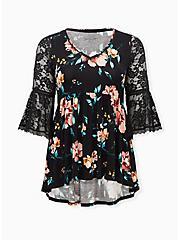 Super Soft Black Floral Crochet Lace Babydoll Top, DEEP BLACK, hi-res