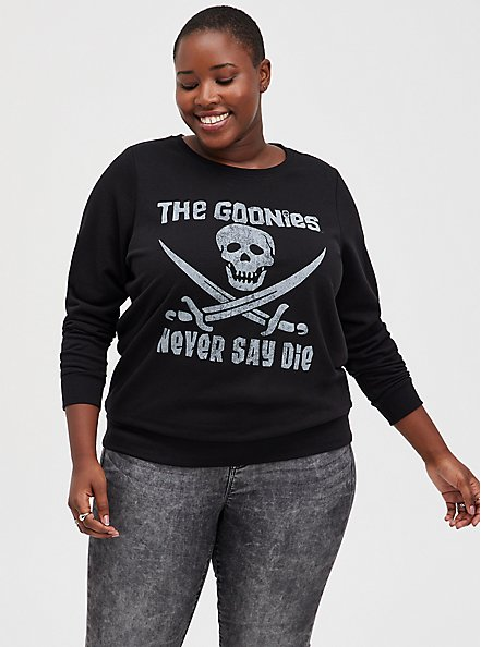 The Goonies Never Say Die Black Sweatshirt, DEEP BLACK, hi-res