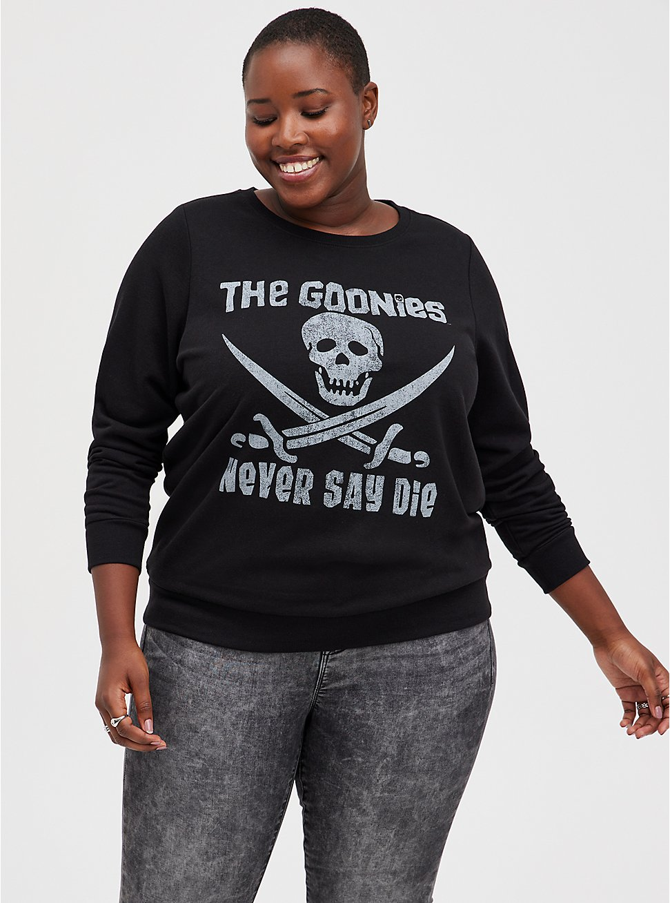 The Goonies Never Say Die Black Sweatshirt, DEEP BLACK, hi-res